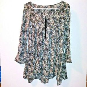 H & M floral tunic top flare high low